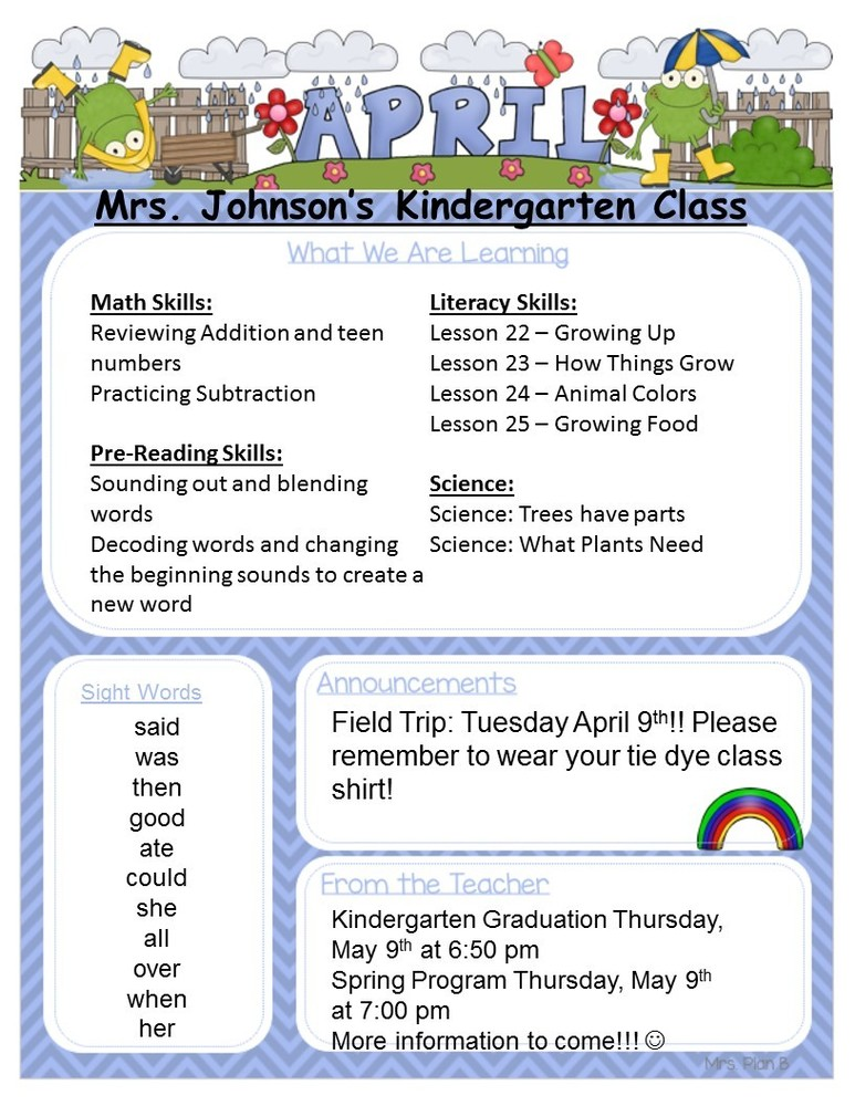 Kindergarten April Newsletter