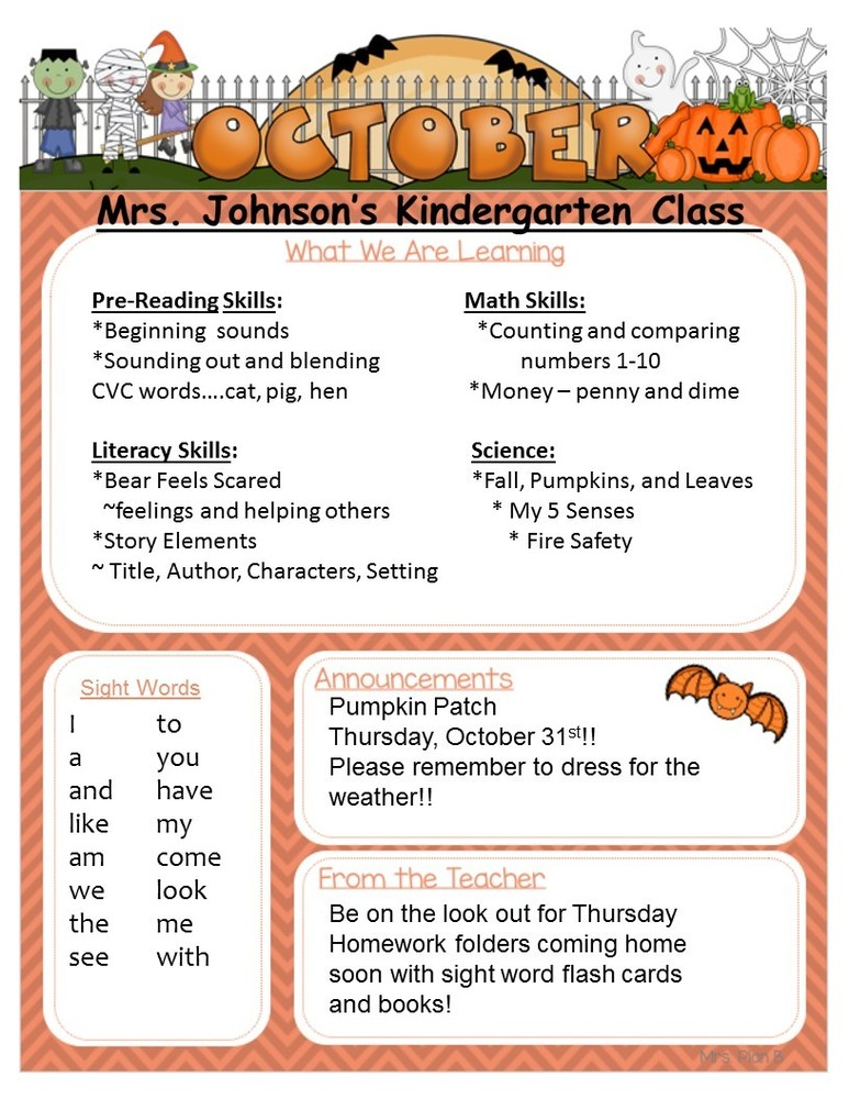 Kindergarten October Newsletter