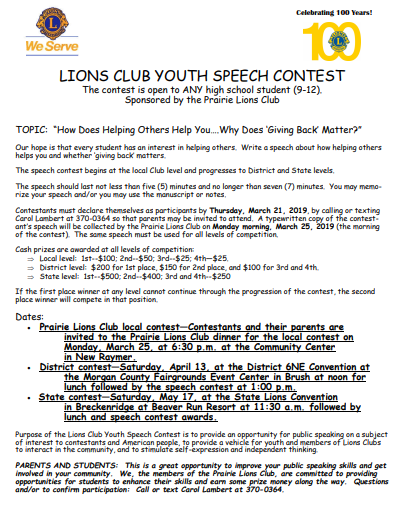 Lion's Club Speech Contest