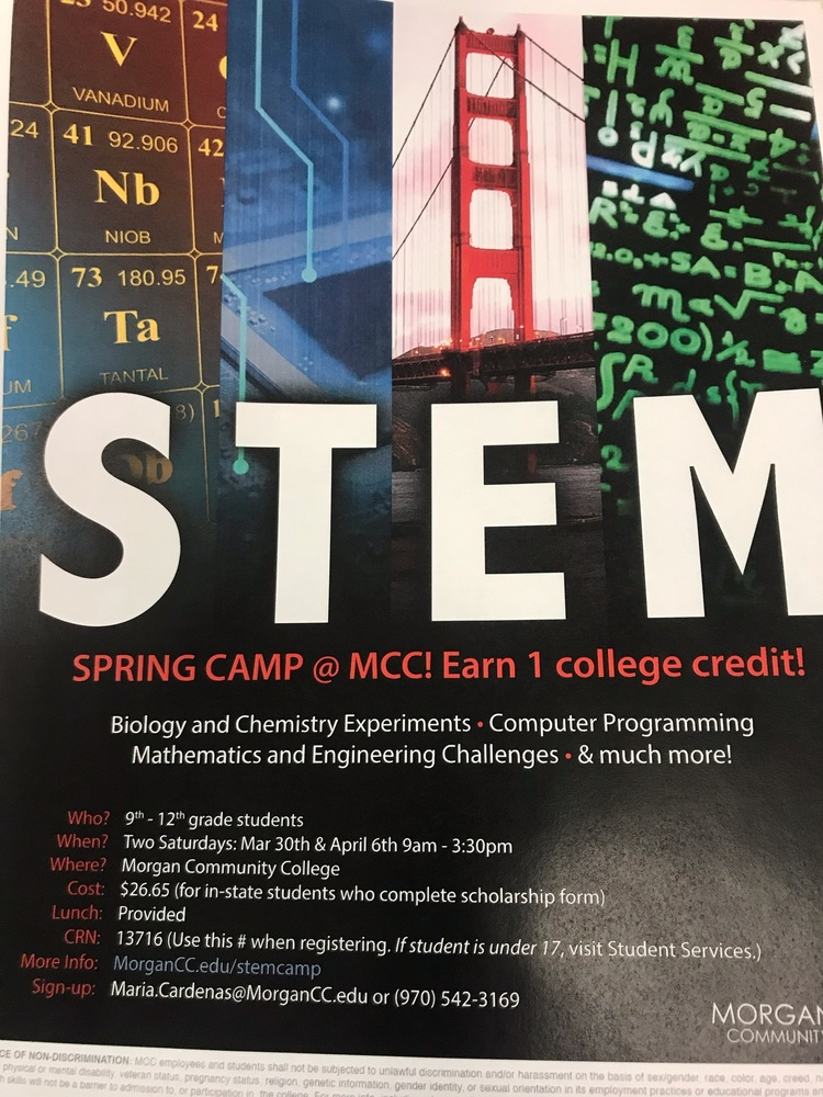 STEM: Spring Camp coming to MCC for students in grades 9-12.