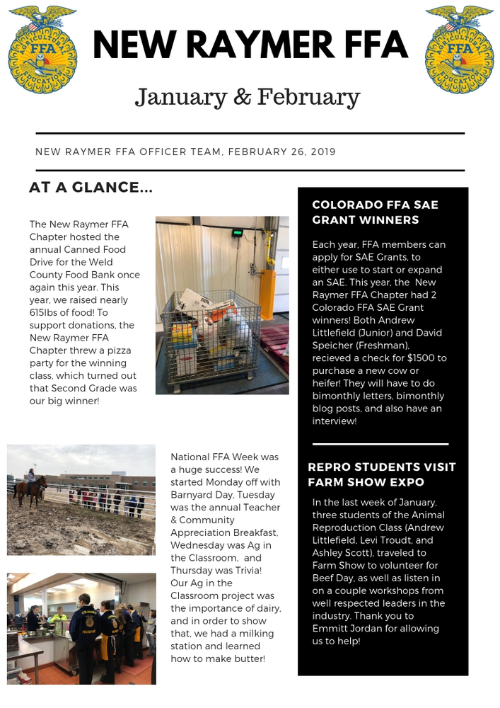 New Raymer FFA January/February Newsletter