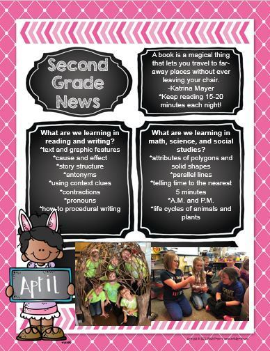 Second Grade April Newsletter