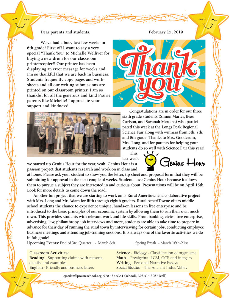 6th grade Newsletter - February 2019