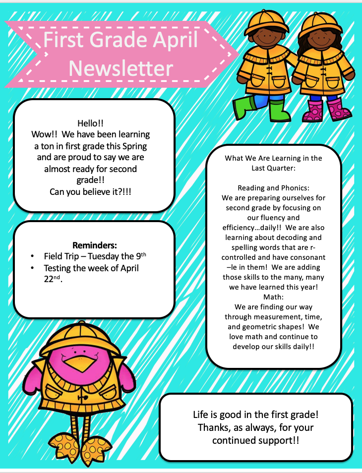 First Grade April Newsletter