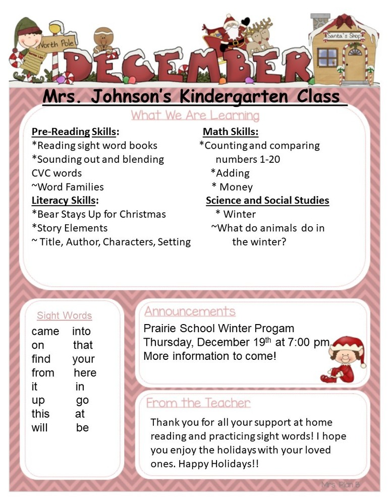 Kindergarten December Newsletter