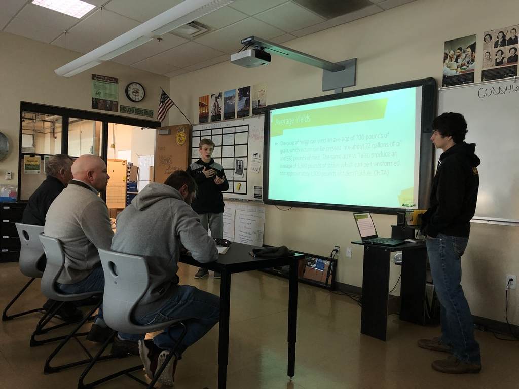Andrew and Xander presenting about Hemp.