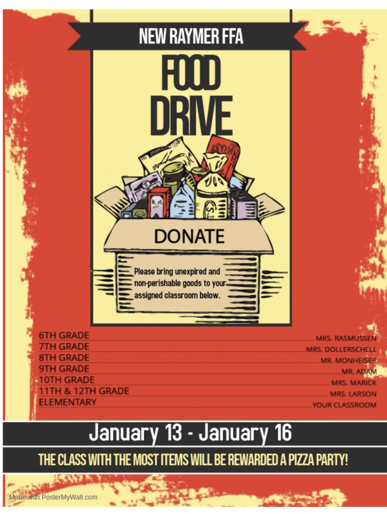 Canned food drive flyer.